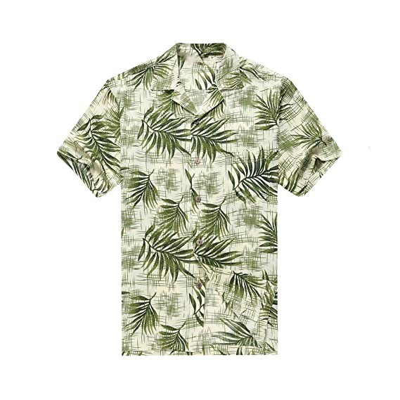a3ef8292 Hawaii Hangover Men's Hawaiian Shirt Aloha Shirt Breadfruit Leaves in White  Green: Amazon.co.uk: Clothing