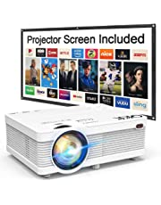 """QKK 2019 Newest Mini Video Projector, 2800 LUX [100"""" Projector Screen Included] 1080P Supported 176"""" Projection Size, Compatible with HDMI, VGA, AV, USB for Home Theater, Outdoor Activities and More"""