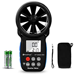 HoldPeak Digital Anemometer,HP-866B-WM Handheld Wind Speed Meter for Wind Speed/Temperature with Wind Chill & Relative Humidity,Altitude, Barometric Pressure Measure for HVAC CFM Shooting