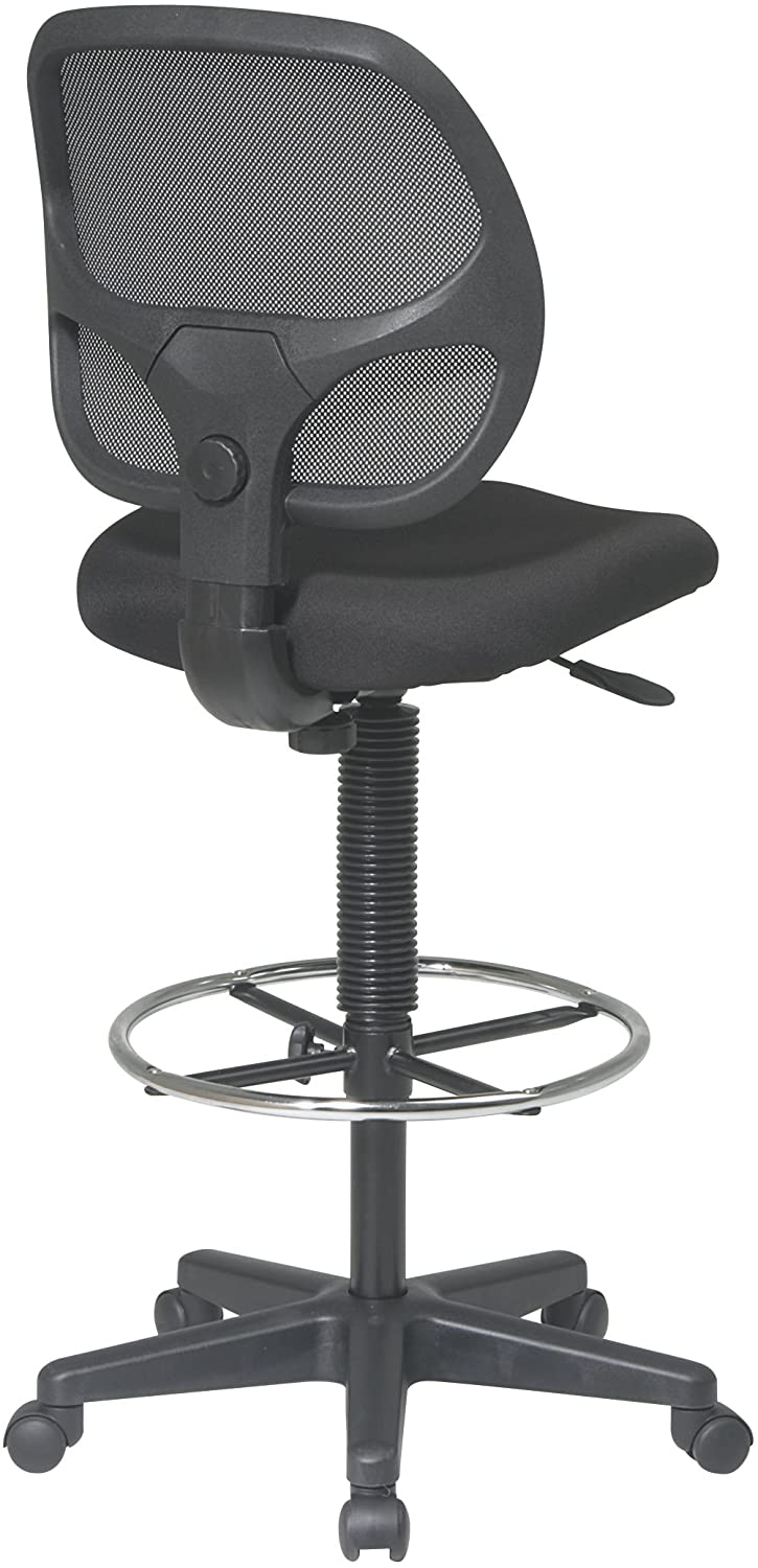 Office Star Deluxe Mesh Back Drafting Chair with 18.5 Diameter Adjustable Footring Black Fabric Seat