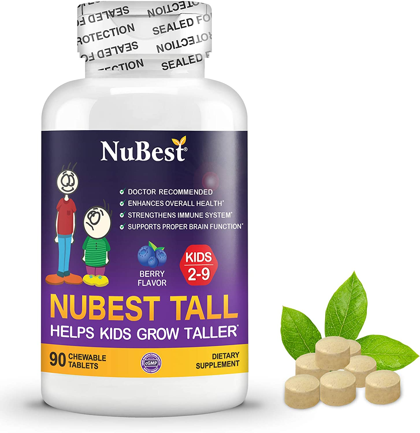 Amazon.com: NuBest Tall Kids - Supports Healthy Growth in Kids from 2 to 9  Years Old with Multivitamins and Multi-Minerals - Berry Flavor - Helps Kids  Grow - 90 Chewable Tablets: Health & Personal Care