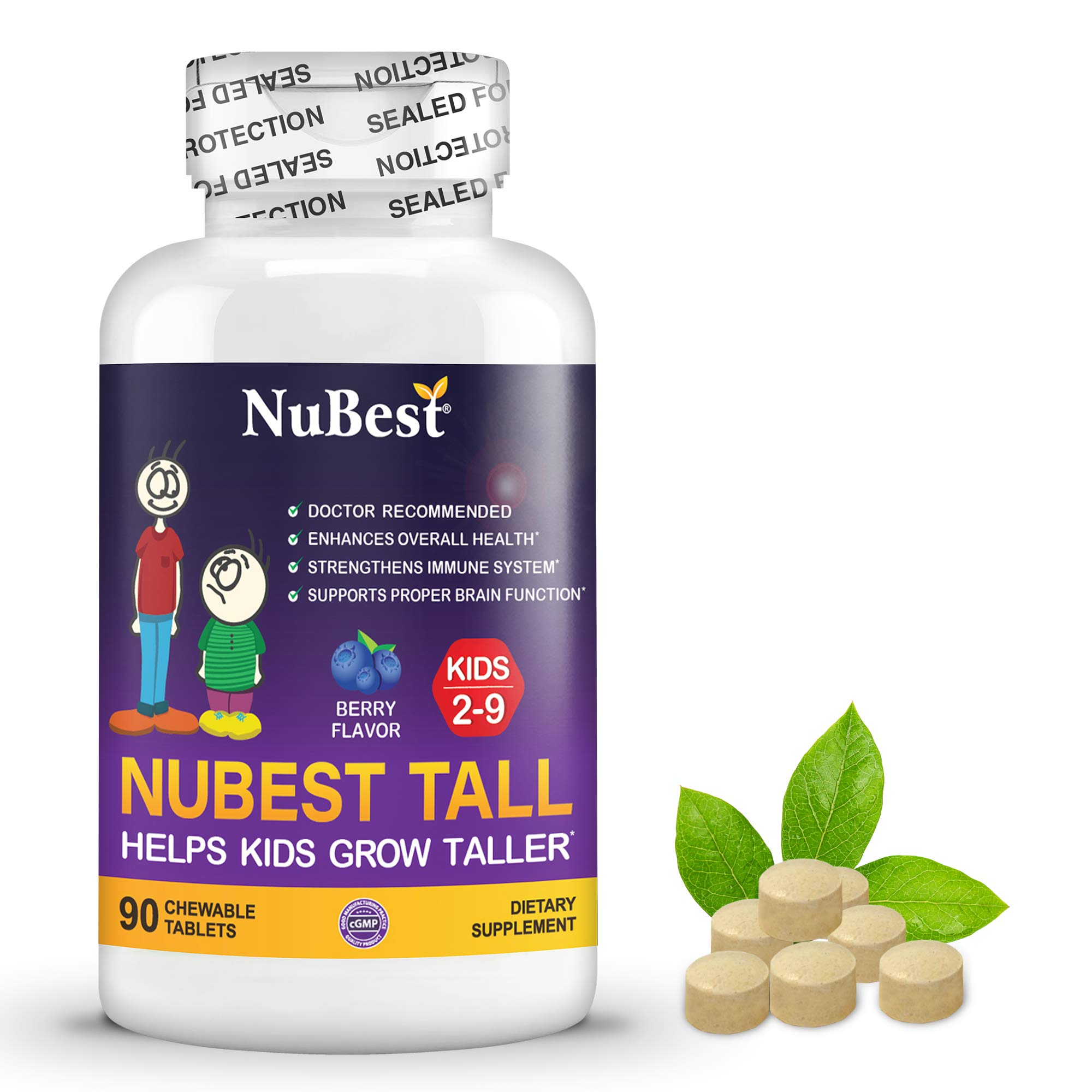 NuBest Tall Kids - Supports Healthy Growth in Kids from 2 to 9 Years Old with Multivitamins and Multi-Minerals - Berry Flavor - Helps Kids Grow - 90 Chewable Tablets