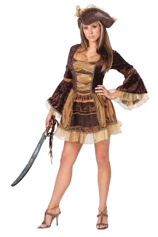Sassy viktorianische Gold geschnittenen Piraten Damen Kostüm, Braun