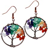 SUNYIK Tumbled Stone Tree of Life Dangle Earrings for Women
