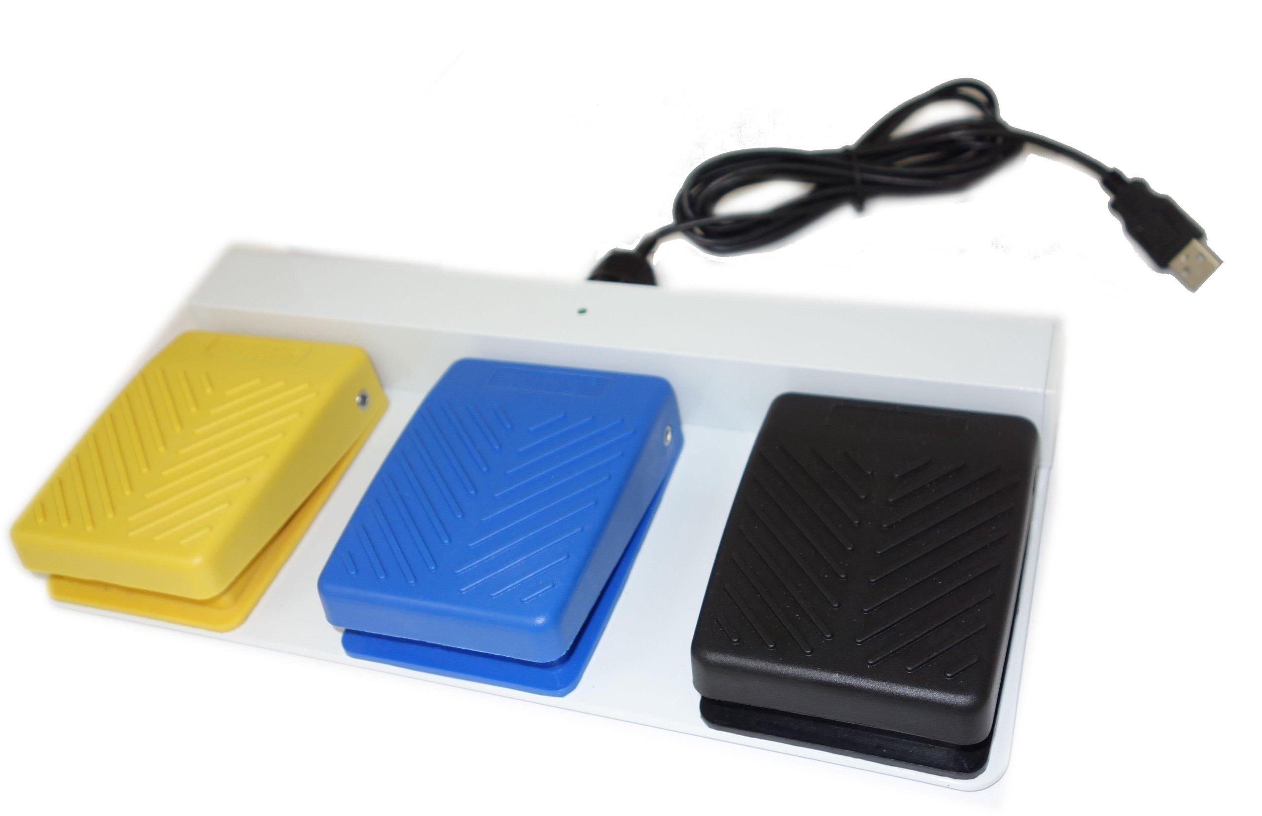 SUNS FS-81-SP-USB (3-Pedal) UL Certified USB Waterproof Three Pedal Medical Foot Switch