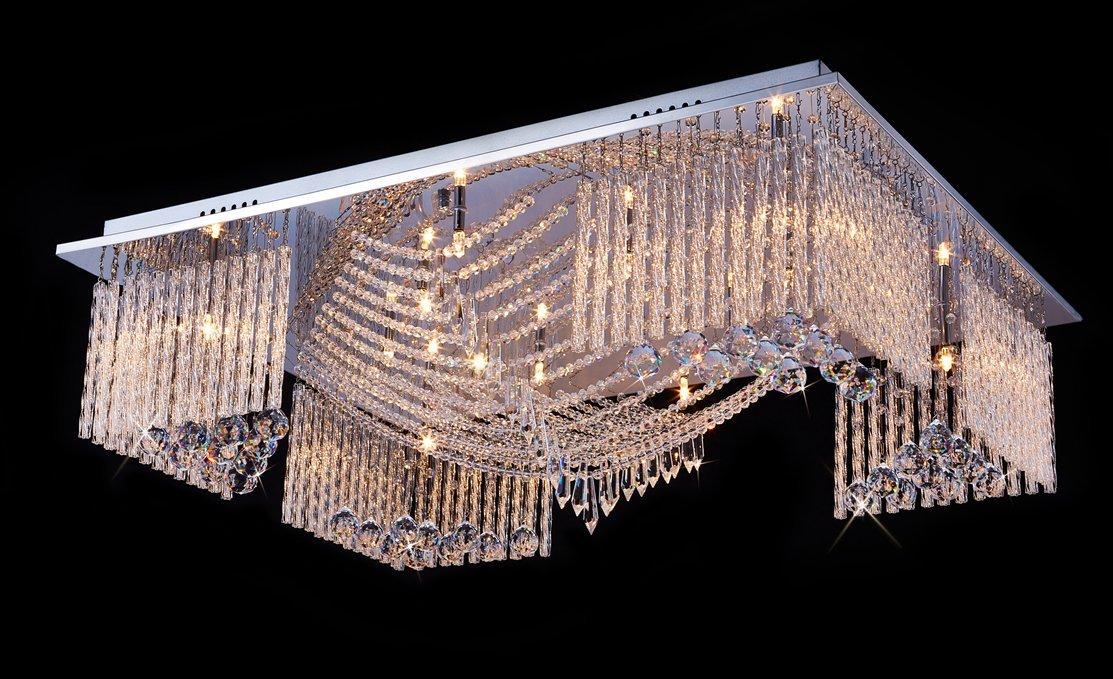 Saint Mossi Modern Crystal Raindrop Chandelier Lighting Flush Mount LED Ceiling Light Fixture Pendant Lamp for Dining Room Bathroom Bedroom Livingroom 13 X G9 Bulbs Required H7'' X W24'' X L32''