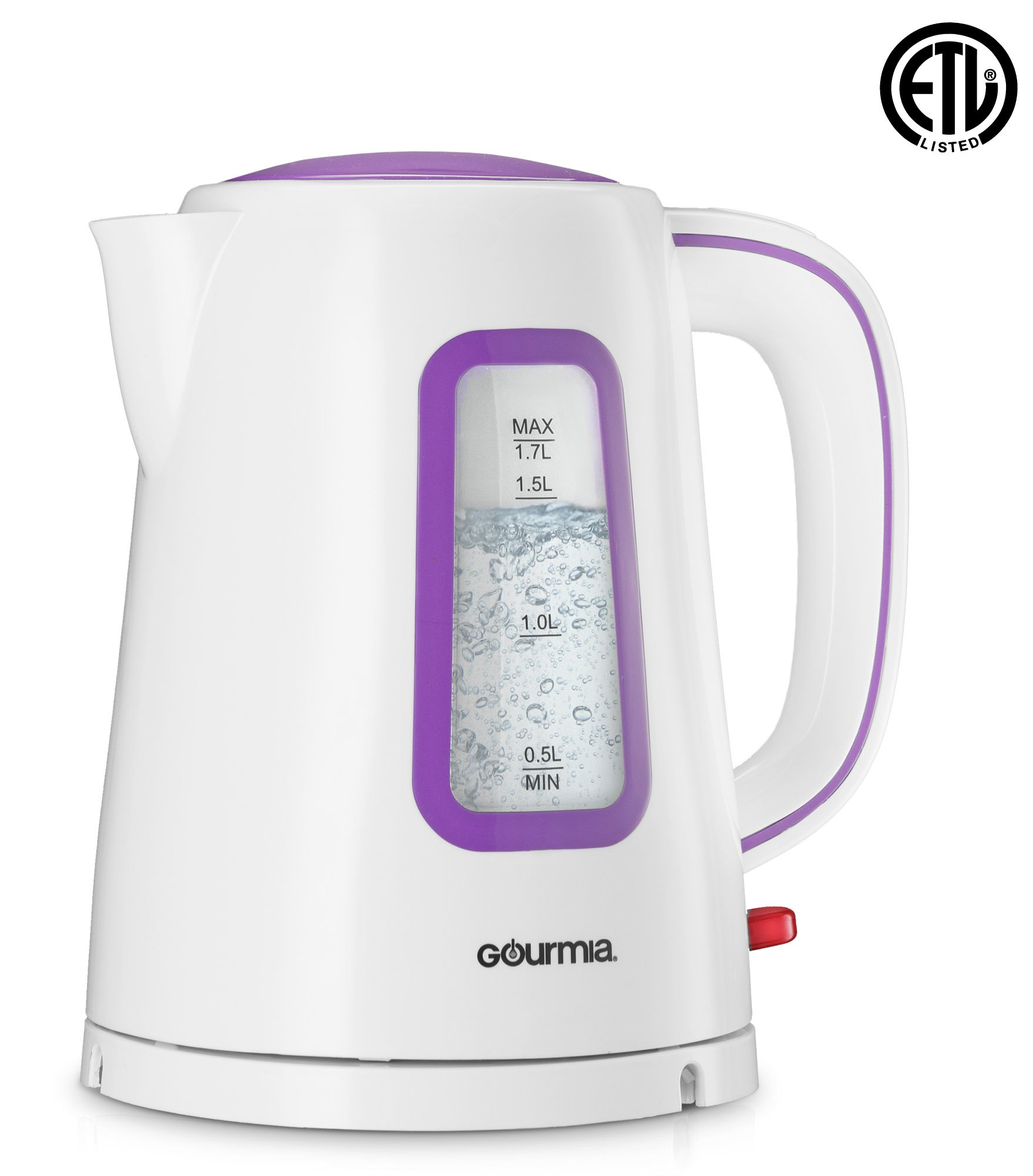 Gourmia GK220 Supreme Electric Tea Kettle - Cordless - Speed Boil - Auto Shutoff - Boil Dry Protection - Concealed Heating Element - 360° Swivel Base - 1.7L - 1500 Watts - 110/120V - White/Purple