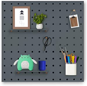 Pegboard Wall Organizer & Home Decor - 16 x 16 Inches, Complete Installation Kit, Multi Functional Wall Storage for Photo Grid, Hanging Items, Plant Pots, and Keeping Home Office Organized