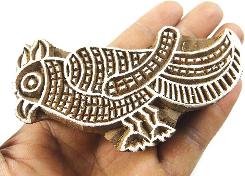 Decorative Blocks Duck Wooden Textile Stamps Indian Art Brown Handcarved Stamp