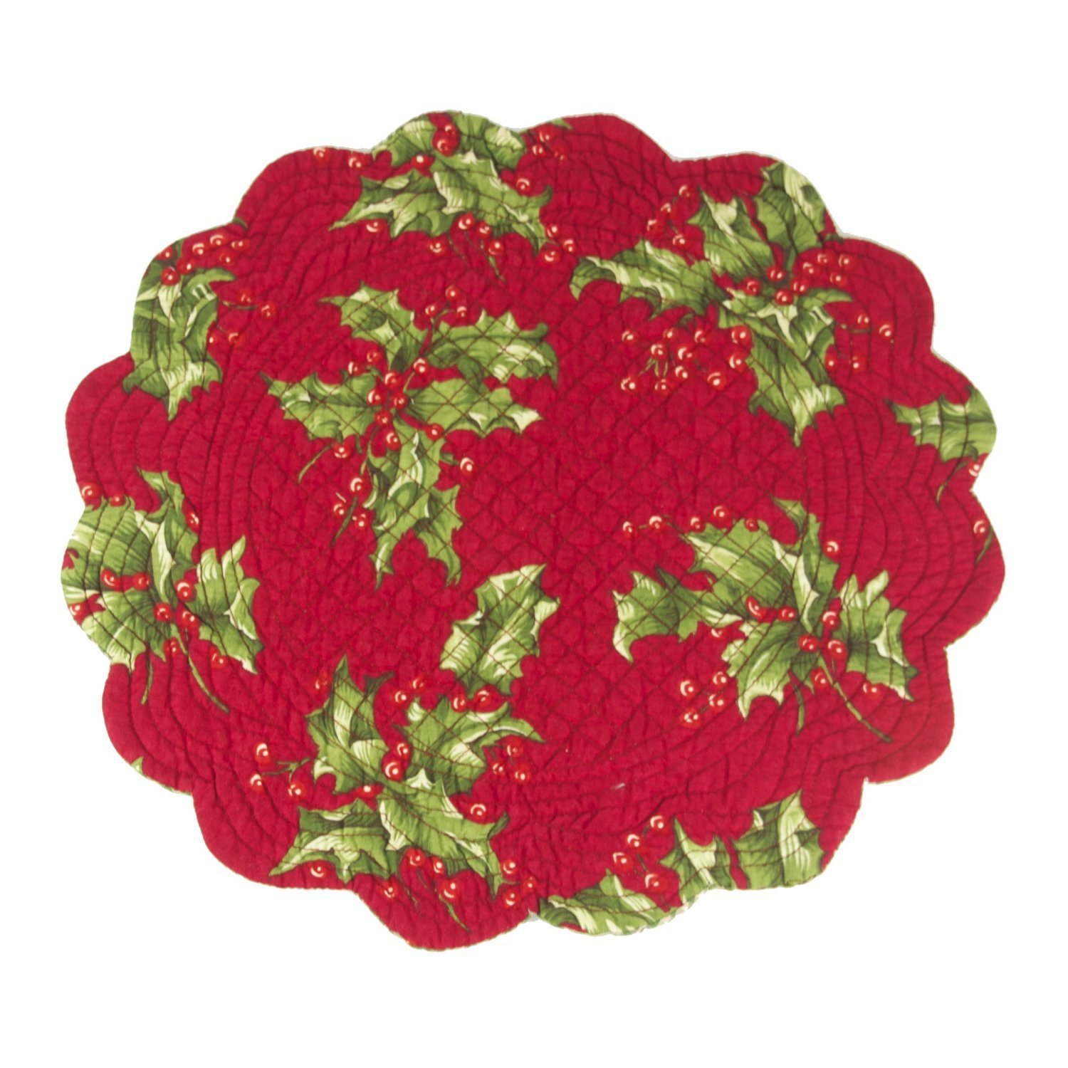 C & F Enterprises Holly Berry Round Placemats、4のセット   B06XY8XYRY