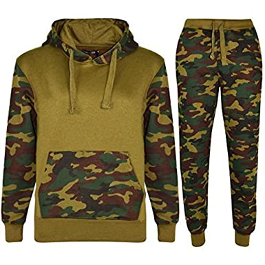 2984c99de96 Mymixtrendz® Kids Boys Girls Contrast Camouflage 2 Piece Tracksuit Sweat  Pants and Hoodie  Amazon.co.uk  Clothing