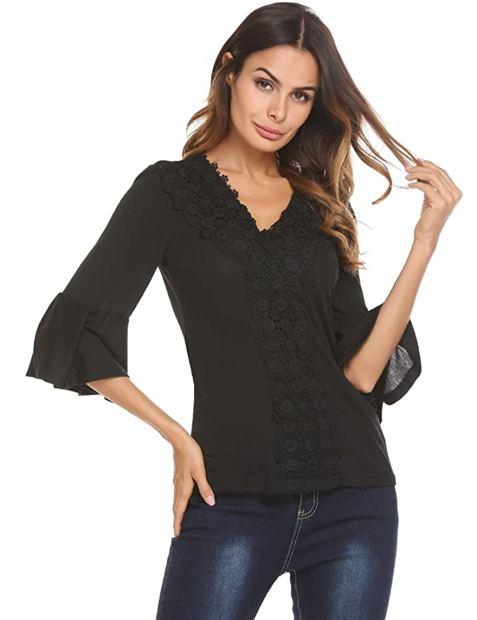 857606b0523df Concep Women s V Neck Top 3 4 Sleeve Blouse Casual T-Shirt Floral Lace Shirt  at Amazon Women s Clothing store