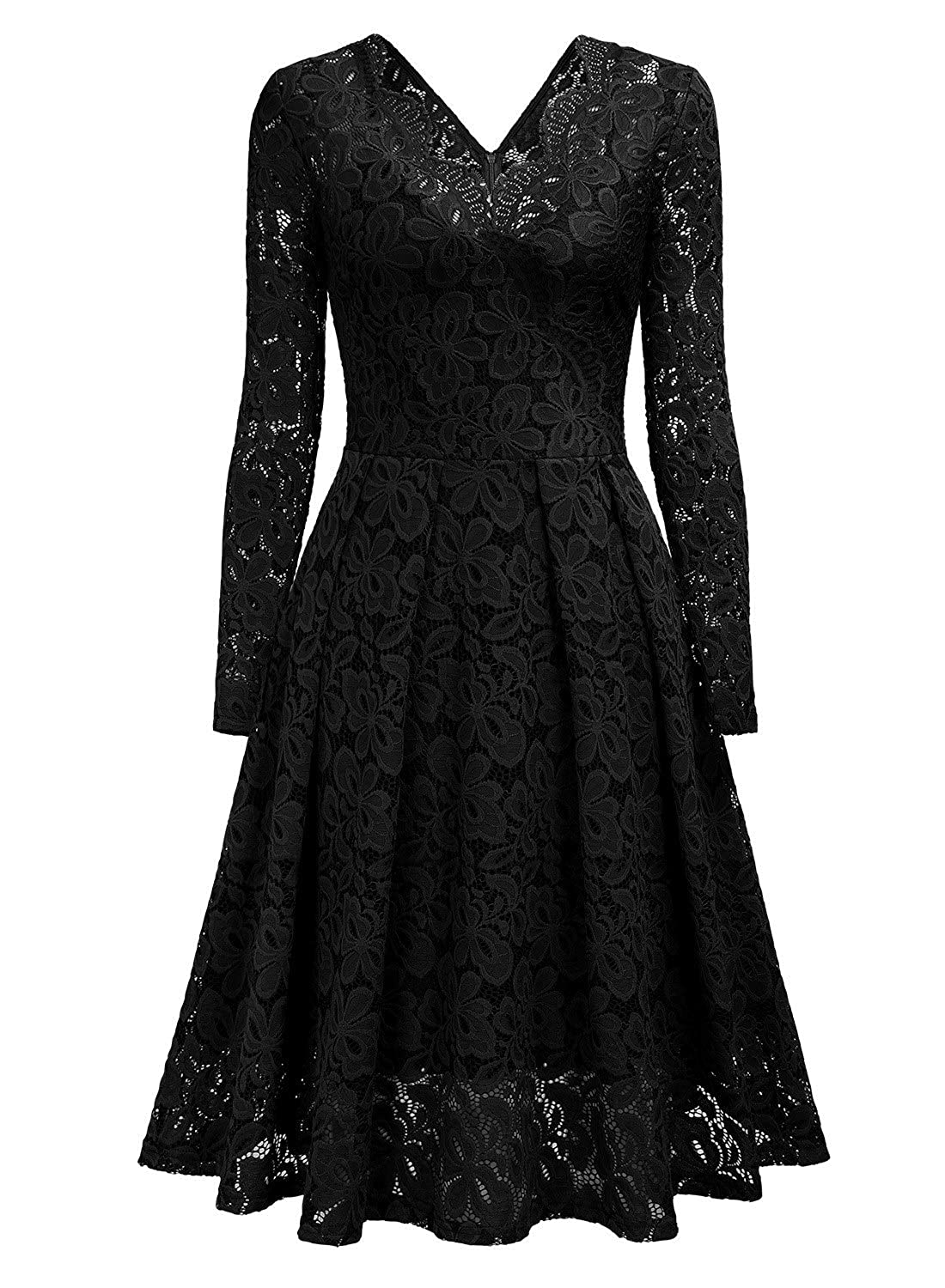 ed1d992f84 MISSMAY Women s Vintage Floral Lace V-Neck Cocktail Formal Swing Dress