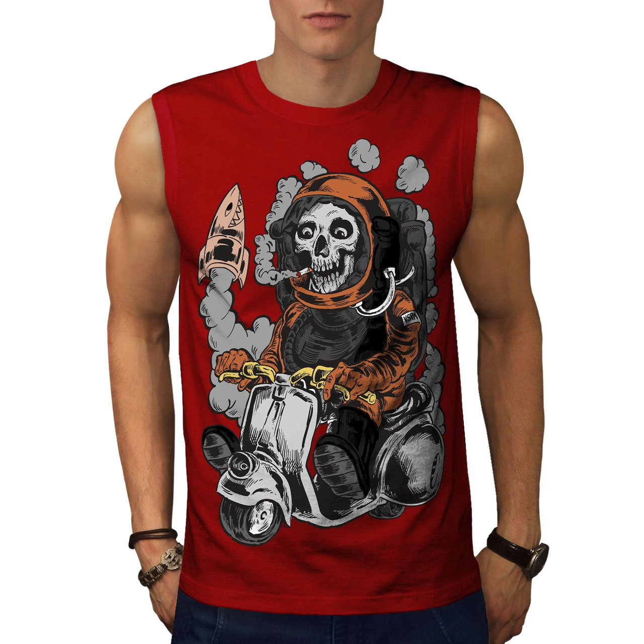 Wellcoda Dead Astronaut Mens Sleevless T-Shirt, Skeleton Active Top Shirt