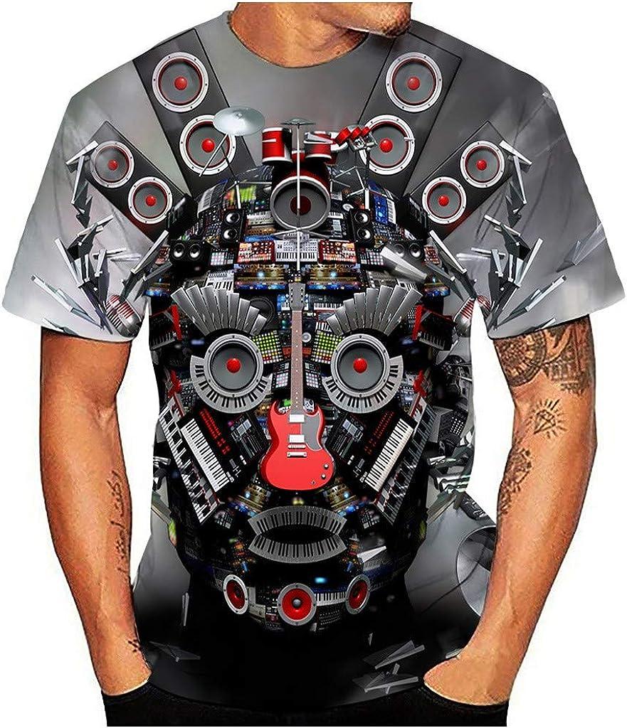 Hstore Big Boys Girls 3D Print Short Sleeve T-Shirt Kids Crew Graphic Tee Fireworks Guitar Ghost Tops