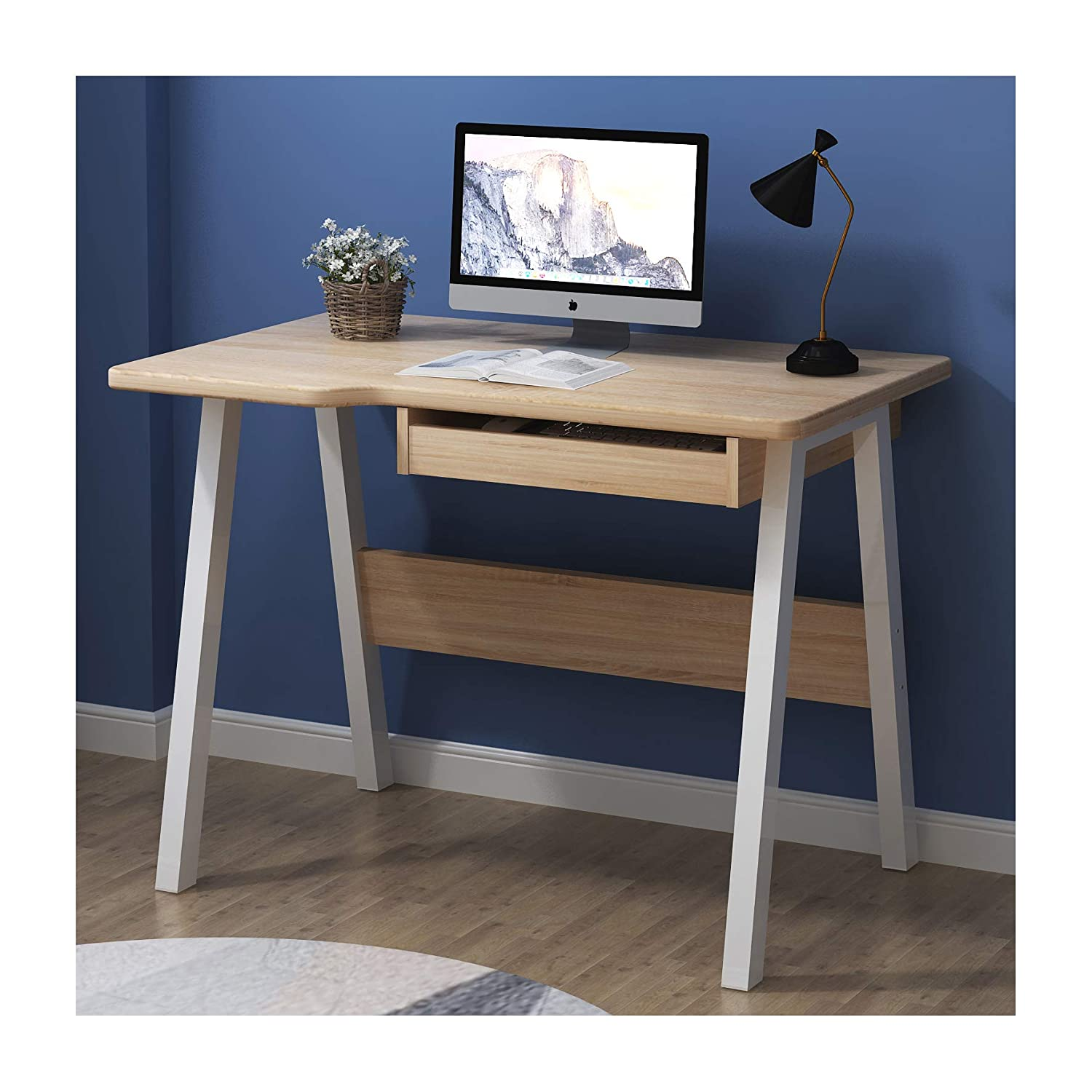 Cherry Tree Furniture Oak Colour Computer Desk Home Office Workstation Desk with Keyboard Tray