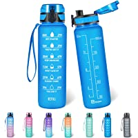 Polygon 32oz Motivational Water Bottle with Time Marker & Removable Strainer to Remind You Drink More Water, Fast Flow…