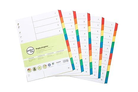 perfect line 5 registrador de colores de 10 piezas con carátula (5x10), separadores