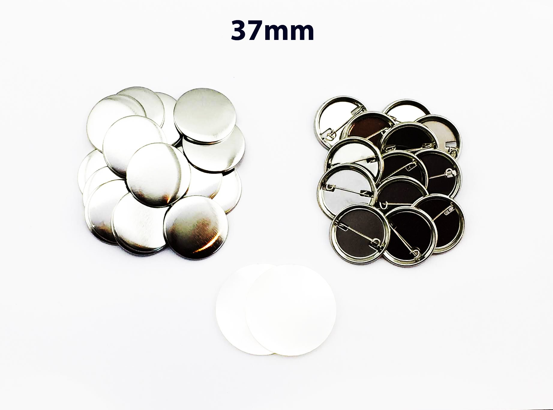 ChiButtons 37mm Metal Pin Badge Round (200Sets) Metric System by ChiButtons