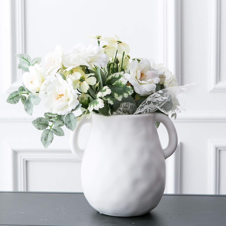 Kimdio Ceramic Flower Vase, Vases for Decor, Decorative Table Floral Vase for Living Room, Indoor Plant, Shelf, Mantle, Table, Office, Wedding Centerpieces/Arrangements,Bottom Waterproof (White)