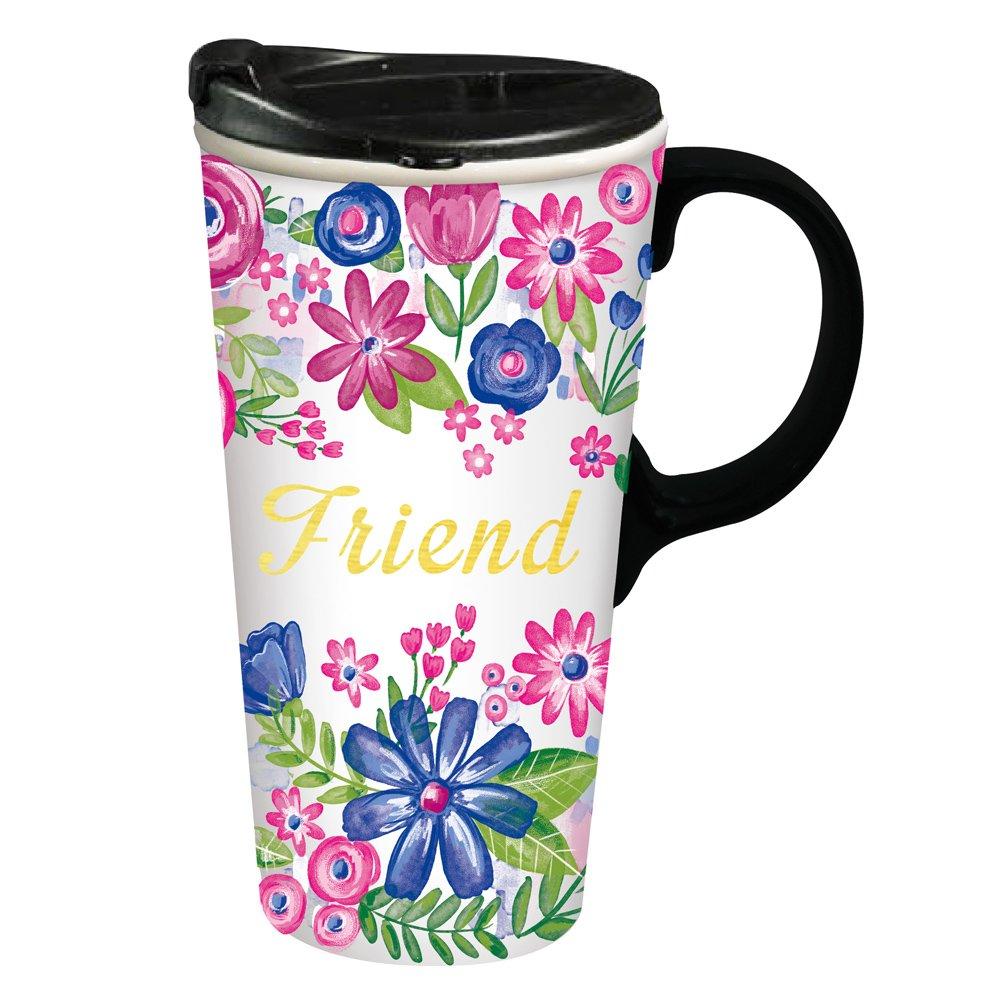 Cypress Home Friend Ceramic Travel Coffee Mug, 17 ounces