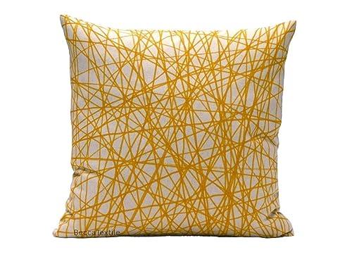 Cojín amarillo mostaza de tejido de lino, medidas ...