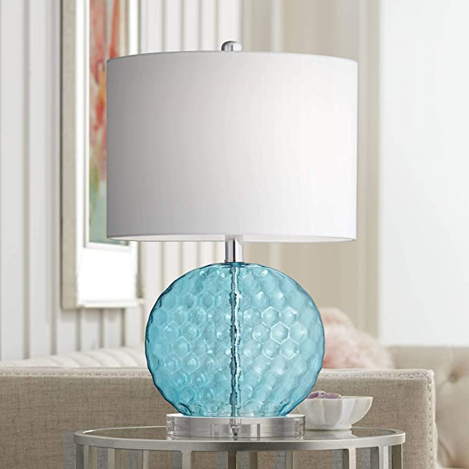 Nancy Coastal Contemporary Accent Table Lamp Round Blue Dimpled Glass Nickel White Oval Shade Decor For Living Room Bedroom Beach House Bedside Nightstand Home Office Family 360 Lighting Amazon Com