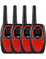 FLOUREON Walkie Talkies para Niños 8 Canales 2 Piezas con Larga Distancia Range de Radio bidireccional con Fast Auto Channel Scan para Comunicación de Actividad Interior/Exterior-Rojo