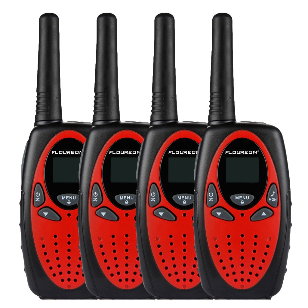 Floureon 4 Packs 22-Channel FRS/GMRS Two Way Radios Up to 3000M/1.9MI Range (MAX 5000M/3.1MI) Handheld Walkie Talkies for Outdoor Adventure (Red) by floureon (Image #1)