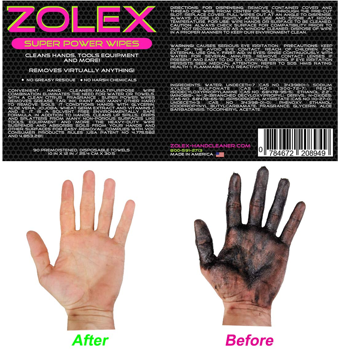 Zolex Water Activated Hand Cleaner for Working Hands| Stain Remover for Heavy Duty Workers | Grease Remover for Auto Mechanics - Non-Toxic Petroleum Free | Commercial-Sized Pail (25 lb) by Zolex (Image #4)