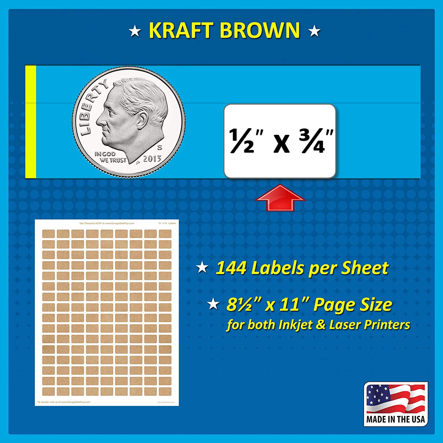 Garage Sale Pup Pack of 2016 1//2 x 3//4 Rectangle Color Coding Dot Labels Kraft Brown 8 1//2 x 11 Inch Sheet Fits All Laser//Inkjet Printers 144 Labels per Sheet 0.5 x 0.75 Inches