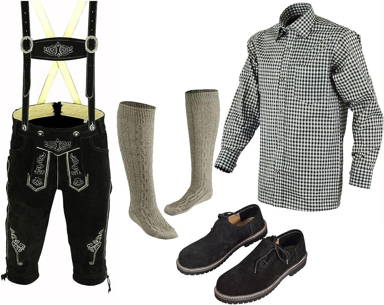 Speed4allkinds Herren Trachten Lederhose 46 62 Trachten Set 5 Teilig Bayerische Trachtenlederhose,Hemd,Schuhe,Socken Neu