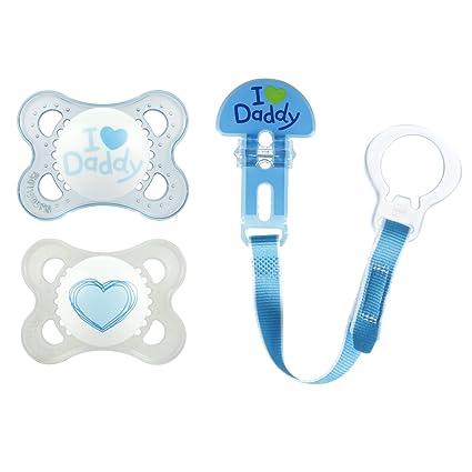 MAM amor y afecto Daddy Silicona Chupete con clip, azul, 0 - 6 meses ...