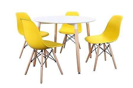 Noorsk Design Conjunto Mesa 100 + 4 sillas Tower (Sillas Amarillas ...
