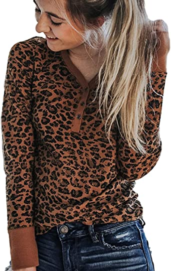 Womens Leopard V Neck Button-Down Shirts Ladies Long Sleeve Tops Casual Blouses