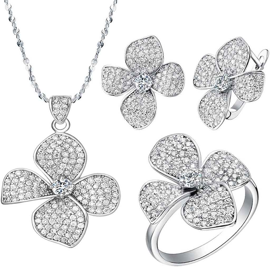 KnSam Collar Plata Mujer, Conjunto de Collar Pendientes y Pulsera, Flor Cristal Diamante de Imitación Juego de Joyas