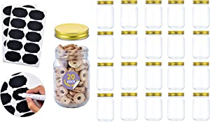 12oz Glass Jars With Lids Regular Mouth 20 Pack -Mason Jars 12 oz For Crafts, Meal Prep, Canning Jars For Food Storage Frascos De Vidrio Con Tapa Para Conservas-with 20 Chalkboard stickers-Gold Lid