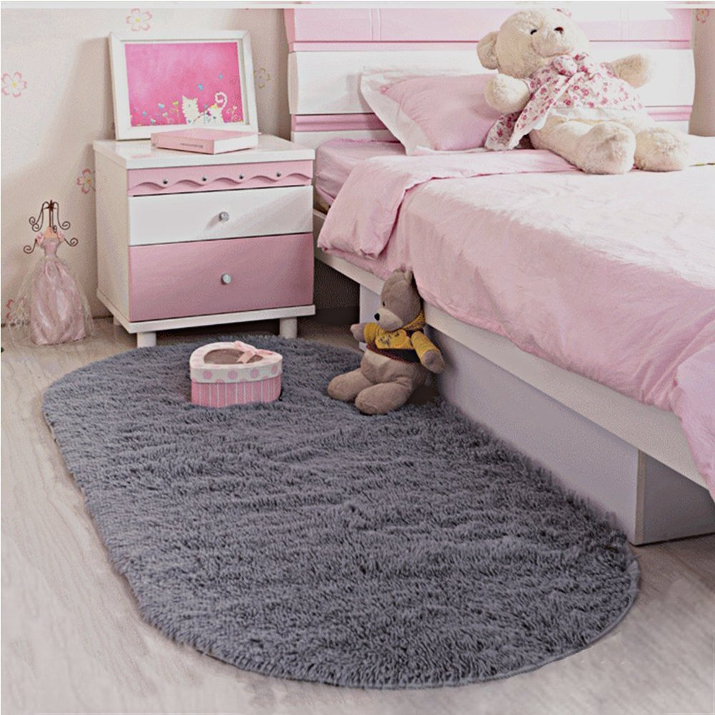 LOCHAS Ultra Soft Children Rugs Room Mat Modern Shaggy Area Rugs Home Decor 2.6' X 5.3', Gray by LOCHAS