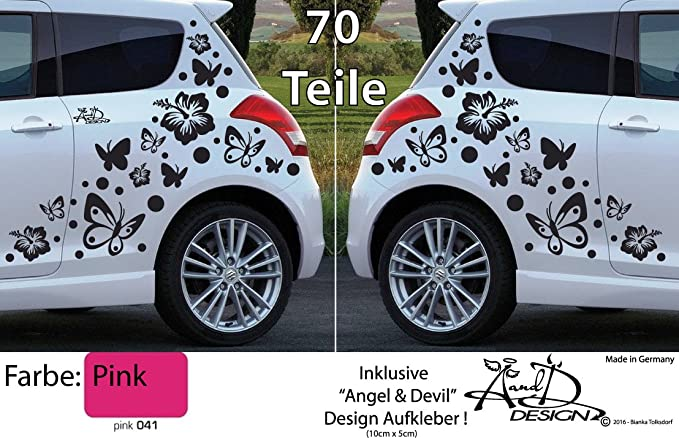 Xl Set Autoaufkleber Hibiskus Blumen Schmetterlinge 70 Teilig Pink Auto