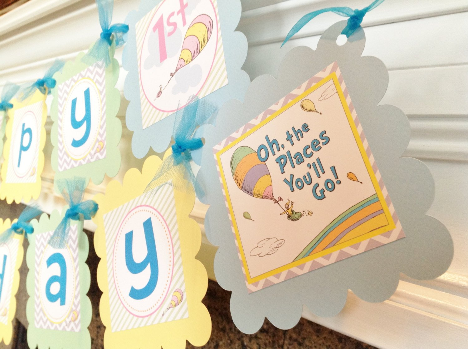 Blue Chevron Get Well Soon Banner Personalized Party Decoration