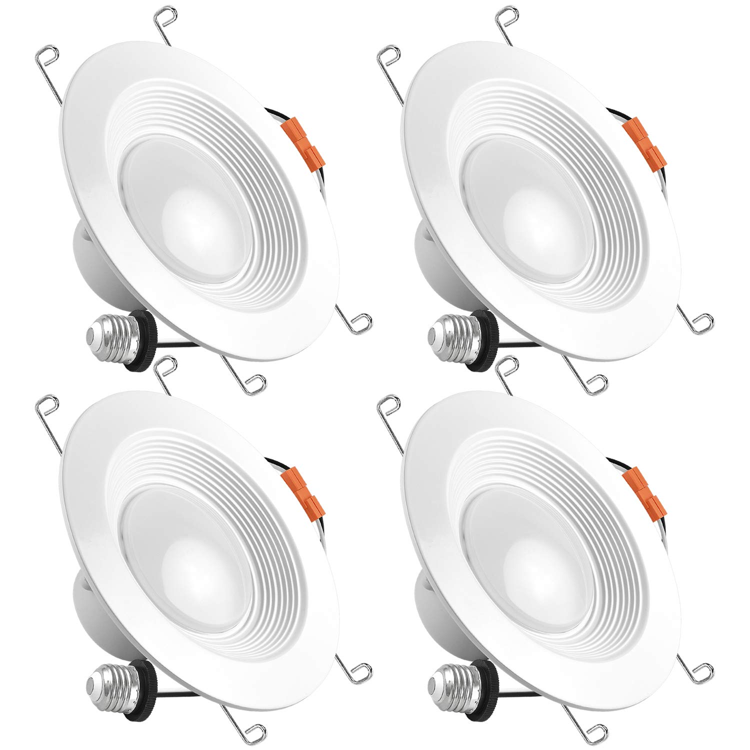 Luxrite 5/6 Inch LED Recessed Light, 15W (120W Equivalent), 5000K Bright White, 1300lm, Dimmable, Retrofit LED Can Light, Energy Star & UL, Damp Rated - Perfect for Kitchen, Bathroom, Office (4 Pack) by Luxrite (Image #1)
