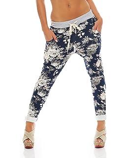 Zarmexx Damen Sweatpants Baggy Hose Boyfriend Freizeithose Sporthose  All-Over Roses Print One Size a52c0db122