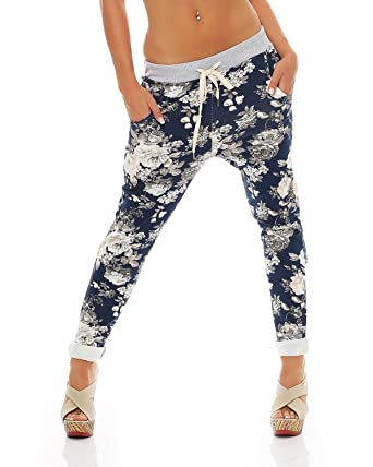 09d63cc903 Zarmexx Damen Sweatpants Baggy Hose Boyfriend Freizeithose Sporthose  All-Over Roses Print One Size: Amazon.de: Bekleidung