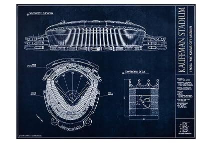 Amazon kauffman stadium blueprint style print unframed 18 x kauffman stadium blueprint style print unframed 18quot malvernweather Image collections