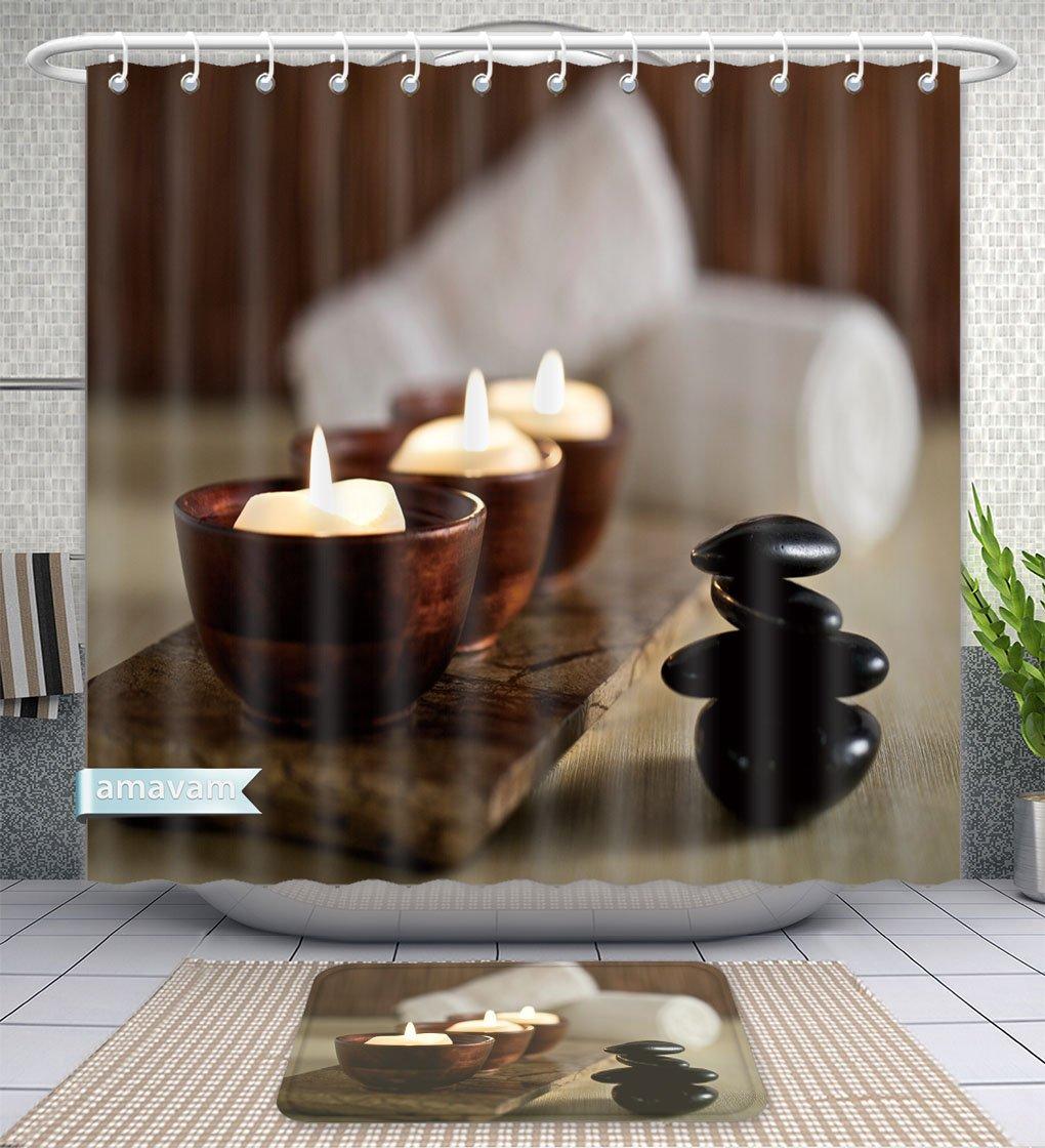 Amavam Bathroom 2-Piece Suit Lit Candles And Black Massage Stones In Zen Spa Shower Curtains And Bath Mats Set, 60'' Wx72 H & 23'' Wx16 H
