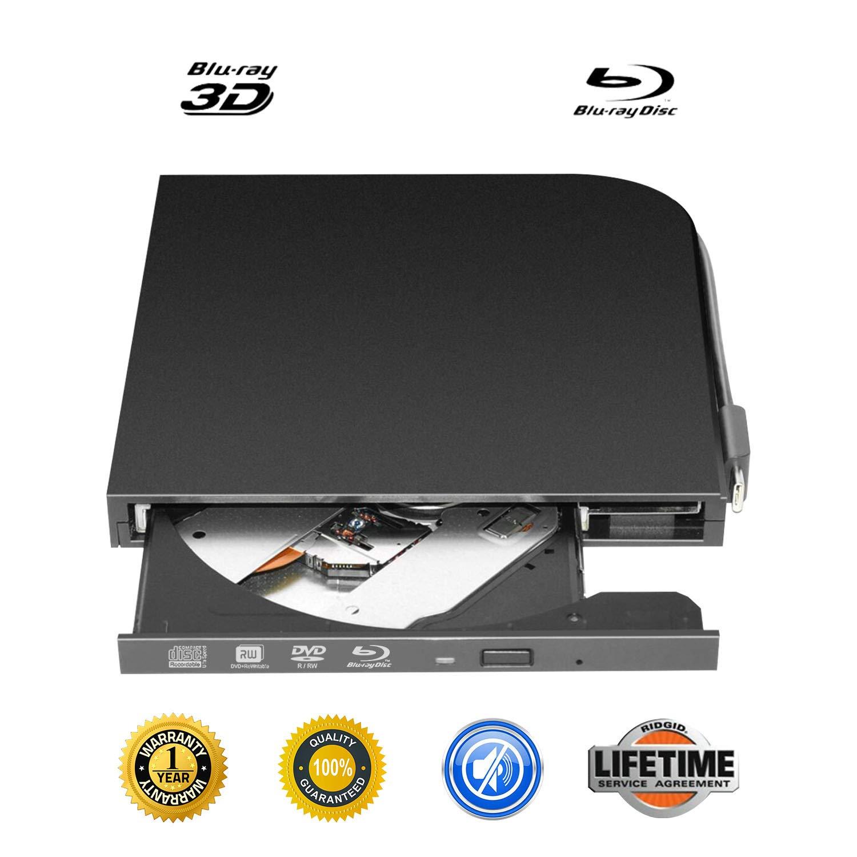 External Blu-ray DVD Drive Portable USB 2.0 3D Blu-ray CD Burner Ultra-Thin USB 3.1 Type-C USB-C External Blu-ray DVD CD Player BD-ROM Superdrive for PC Computer Desktop (Black)