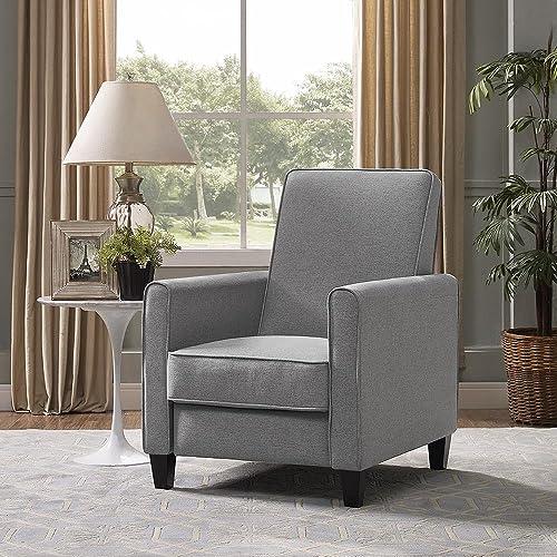 Naomi Home Landon Push Back Recliner Upholstered Club Chair Gray Linen