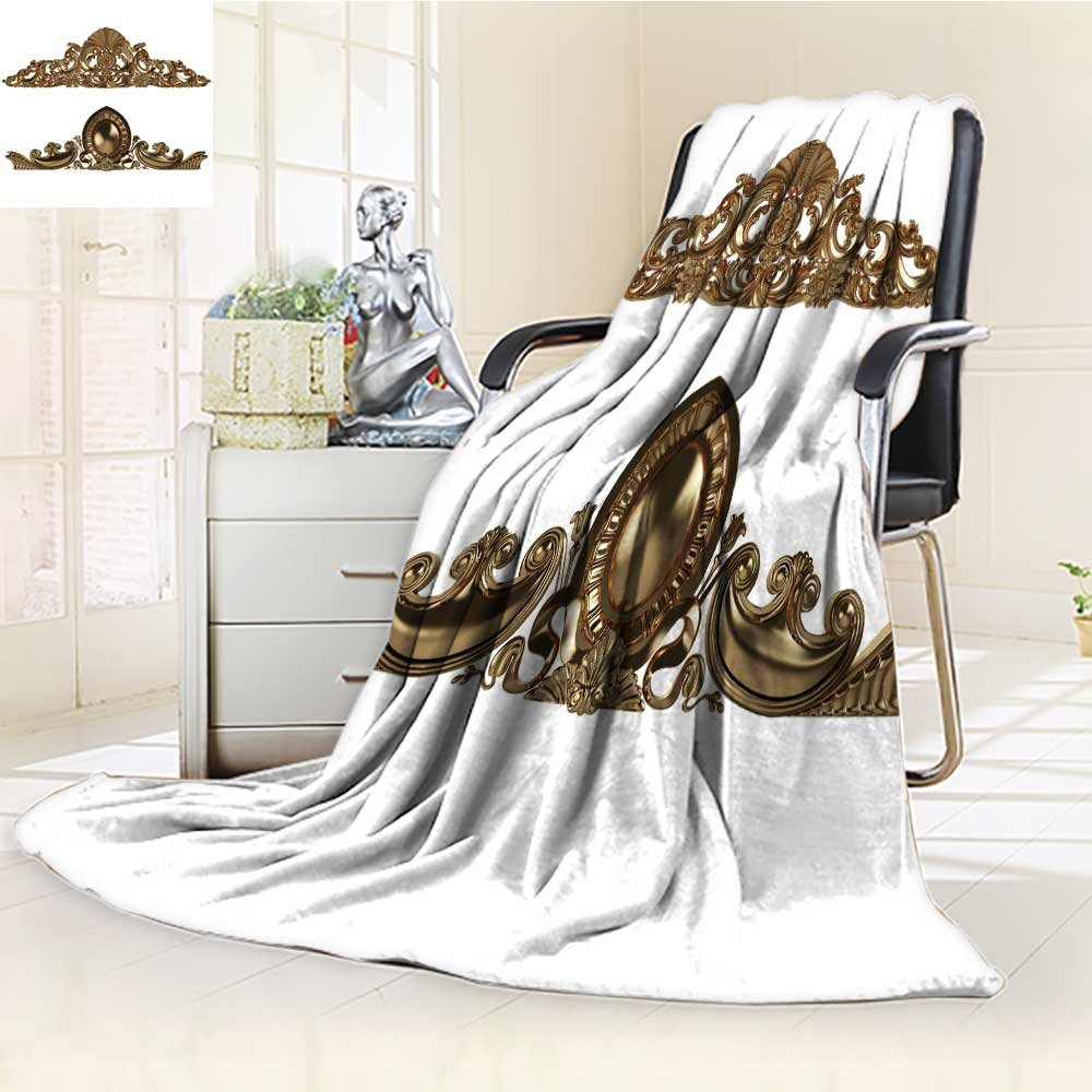 DOLLAR Blanket,3d set of an ancient gold ornament on a white background. High resolution Traveling, Hiking, Camping, Full Queen, TV, Cabin, Couch, Bed Throw(60''x 50'')