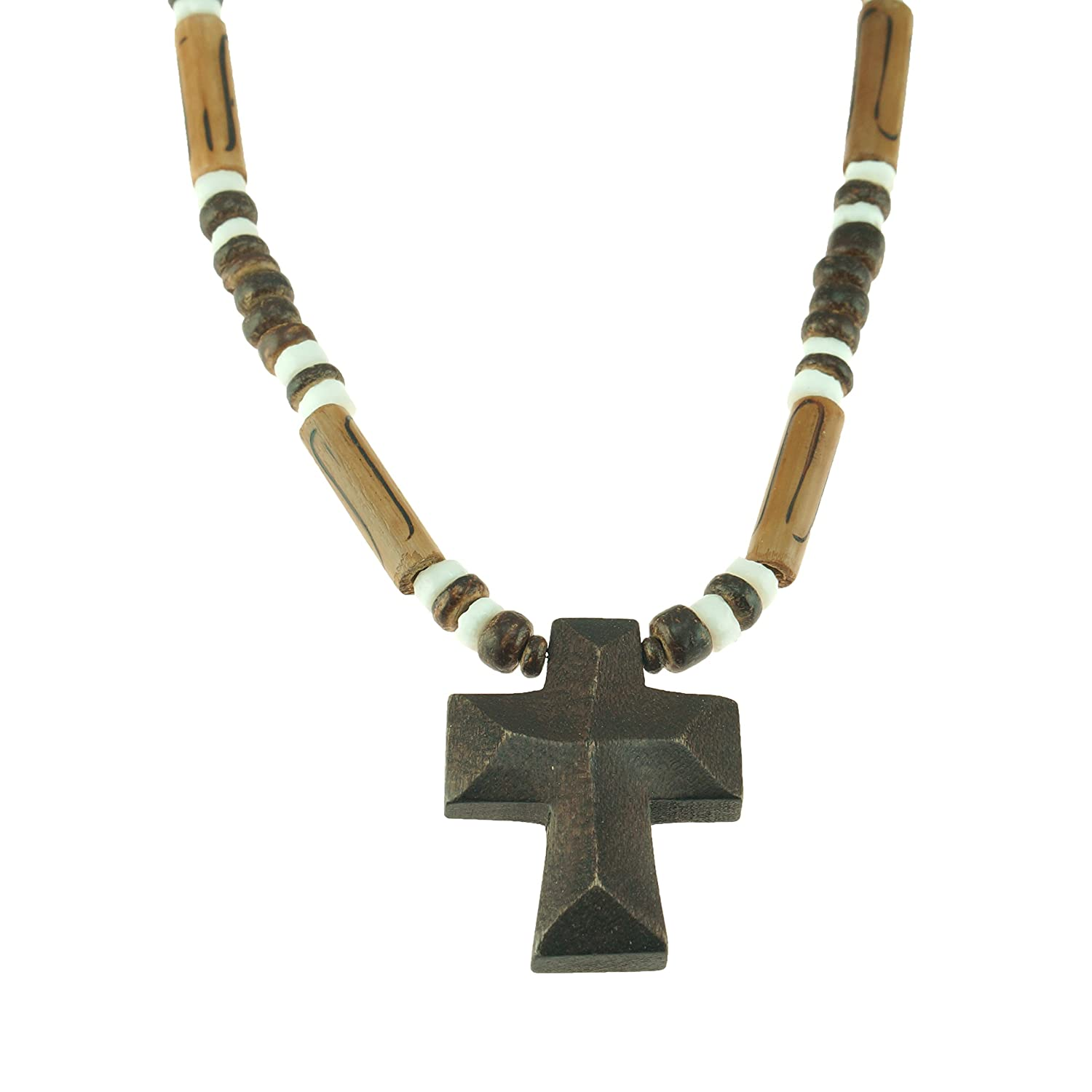 Brown Wood Cross Pendant on Brown Coconut Wood & Puka Clam Shells Beaded Necklace