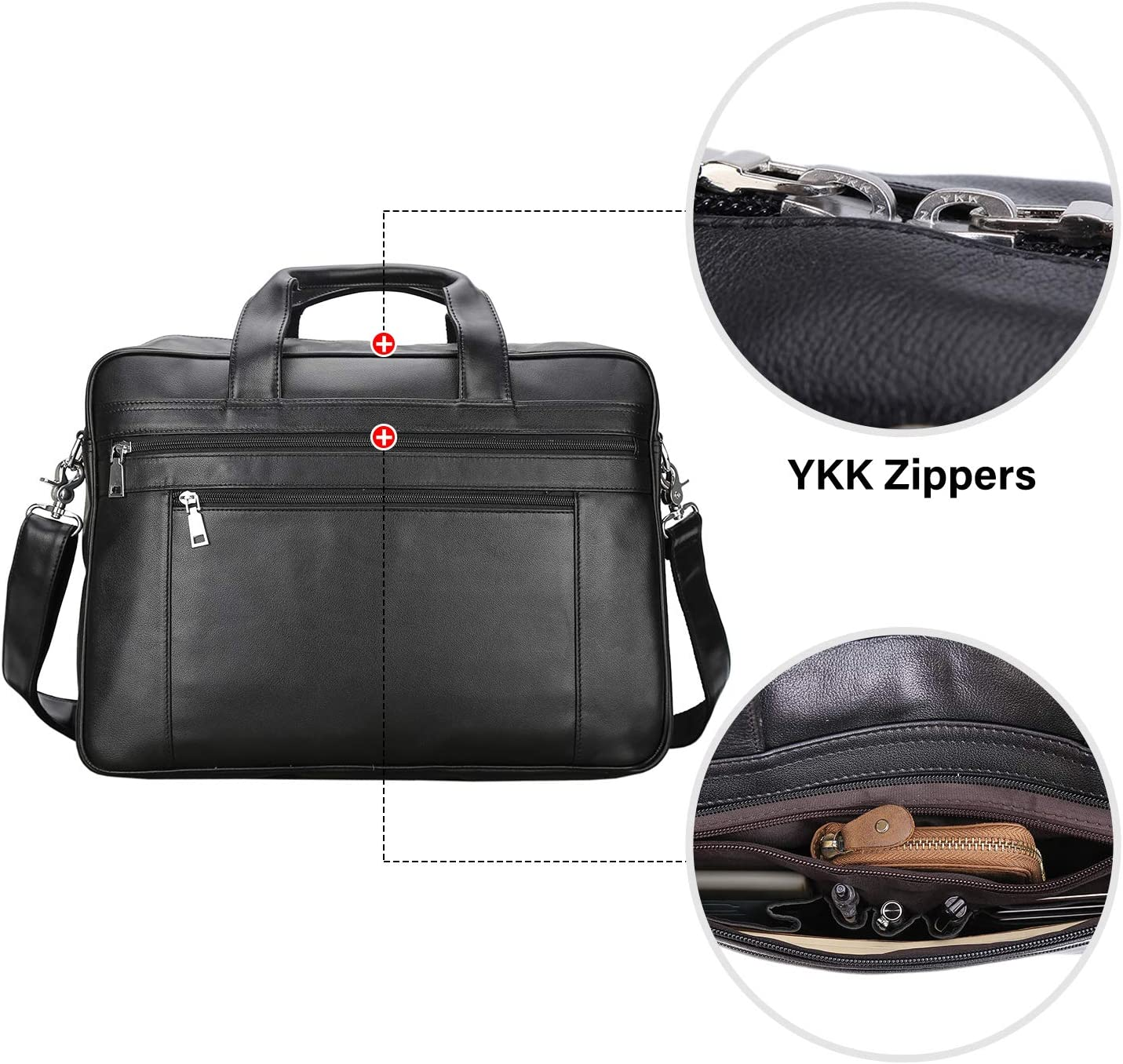 Texbo Mens 17 Inch Solid Genuine Leather Professional Laptop Briefcase Messenger Shoulder Bag with YKK Zippers